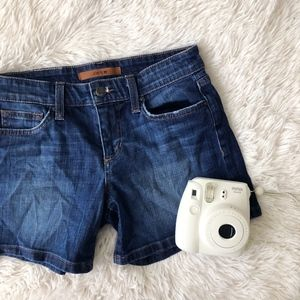JOE'S JEANS blue dark wash jean shorts
